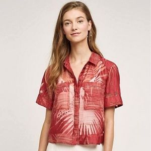 MAEVE ANTHROPOLOGIE Sun Palm Sheer Button Down